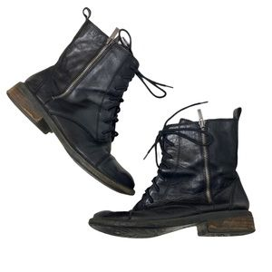 Lucky Brand | Black Combat Leather Boots Size 8.5